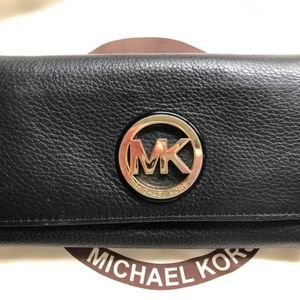 Michael Kors Black Leather Checkbook Wallet